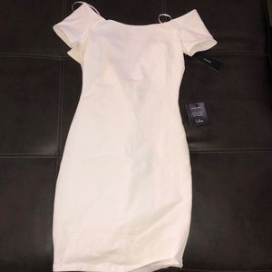 White Bodycon off the shoulder dress from Tobi